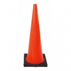 Cortina - CSP03-500-07 - Traffic Cone with Black Base, 28' Height, Red/Orange