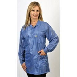 Tech Wear - LOJ23 - Techwear ESD Smock/Jacket, Hip Length, Polyester with Carbon Suffused Monofilament Nylon, Blue