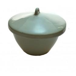 Eisco Scientific - CH0076F - Crucible 150ml., Porcelain with lid, Squat
