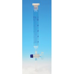 Eisco Scientific - CH0472A - Funnel Dropping - Cylindrical, cap. 50ml, socket size 19/26, borosilicate glass, graduated cylindrical with glass stopcock & interchangeable plastic stopper