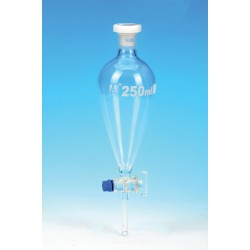 Eisco Scientific - CH0476B - Funnel Dropping - Squibb, cap. 250ml, socket size 19/26, borosilicate glass, with interchangeable plastic stopper and glass stopcock