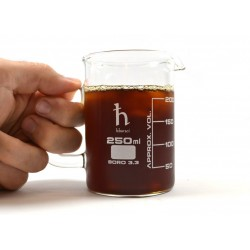 Eisco Scientific - PHBKM250 - Premium Hand Crafted Beaker Mug, Thick Borosilicate Glass, 8.4oz (250mL) Capacity - Small Size - Tea or Espresso Sized