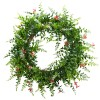 Nearly Natural - 4542 - 18in Floral & Fern Double Ring Wreath w/Twig Base