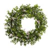 Nearly Natural - 4543 - 18in Mini Ivy & Floral Double Ring Wreath w/Twig Base