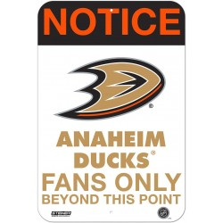 Steiner Sports - DUCKSIU008000 - Anaheim Ducks Fans Only 8x12 Aluminum Sign