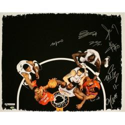 Steiner Sports - NETSCAS020001 - Brooklyn Nets Multi Signed Blocked Shot 20x24 Canvas 8 Sigs