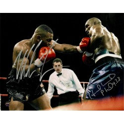 Steiner Sports - HOLYPHS008004 - Mike Tyson Evander Holyfield Dual Signed 11th Round 11/9/96 8x10 Photo