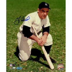 Steiner Sports - BERRPHS008805 - Yogi Berra Signed 8x10 color photo kneeling in grass w/bat