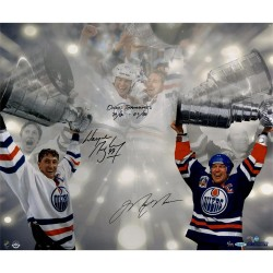 Steiner Sports - GRETPHS016005 - Wayne Gretzky Mark Messier Dual Signed Stanley Cup 16x24 Photo w/ Oilers Teammates 79/80 to 87/88 Insc AP LE/11 UDA LE/99
