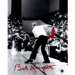 Steiner Sports - KNIGPHS008007 - Bob Knight Signed Throwing Chair BW w/ Red Chair 8x10 Photo