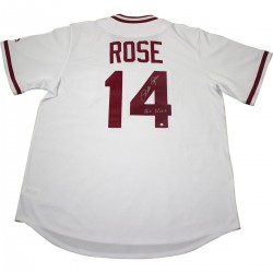 Steiner Sports - ROSEJES000007 - Pete Rose Signed Cincinnati Reds Majestic White 1976 Cooperstown Jersey w/ Hit King Insc