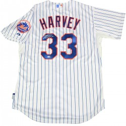 Steiner Sports - HARVJES000009 - Matt Harvey Signed Mets Majestic Authentic Pinstripe Jersey with Mets Logo Patch MLB Auth