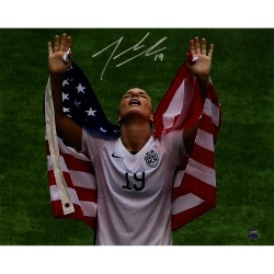Steiner Sports - JOHNPHS008009 - Julie Johnston Signed 2015 Womens World Cup w/ Flag Over Shoulders 8x10 Photo