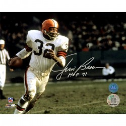 Steiner Sports - BROWPHS008009 - Jim Brown Cleveland Browns Signed Football Rushing 8x10 Photo w HOF 71 Insc (AJ Sports Auth)