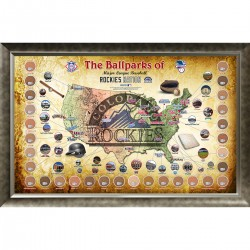 Steiner Sports - MLBPPHA020023 - Major League Baseball Parks Map 20x32 Framed Collage w Game Used Dirt From 30 Parks - Rockies Version