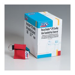 First Aid Only - J5095 - CPR one-way valve faceshield- latex free- in woven nylon pouch on keychain- red- 30 per dispenser box
