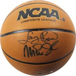 Steiner Sports - BIRDBKS000026 - Larry Bird/Magic Johnson Dual Signed NCAA Basketball Signed in Black