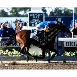 Steiner Sports - ESPIPHS016026 - Victor Espinoza Signed American Pharoah Finish Line Celebration 2015 Belmont Stakes 16x20 Photo w/ 2015 Triple CrownInscSigned in Silver