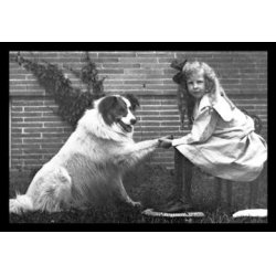 Buyenlarge - 04371-7CG28 - Girl Shaking Hands with Dog 28x42 Giclee on Canvas