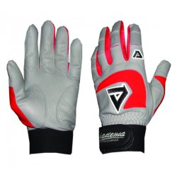 Akadema - BGG406-M(RED) - Akadema Grey/Red Professional Batting Gloves Medium