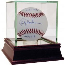 Steiner Sports - HENDBAS000035 - Rickey Henderson Signed MLB Baseball w/ 1 406 SB 3 055 Hits Insc MLB Auth