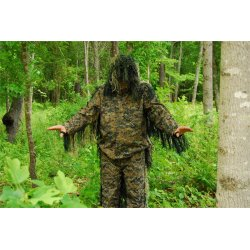 GhillieSuits - PP-NMCS-W-XL/XXL - Ultra-Light Weight Sniper Jacket and Pants Woodland XL/XXL