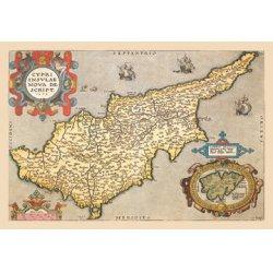 Buyenlarge - 09064-2CG12 - Map of the Island of Cyprus 12x18 Giclee on canvas