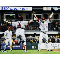Steiner Sports - BAILPHS008009 - Homer Bailey Cincinnati Reds Celebrating No-hitter Against Pirates Signed Horizontal 8x10 Photo w No Hitter 9-28-12 Insc
