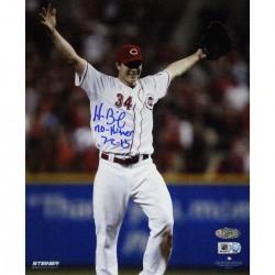 Steiner Sports - BAILPHS008006 - Homer Bailey Cincinnati Reds Hands Up Celebrating No-hitter Against Giants Signed Vertical 8x10 Photo w No Hitter 7-2-13 Insc