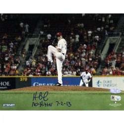 Steiner Sports - BAILPHS008007 - Homer Bailey Cincinnati Reds Pitching No-hitter Against Giants Signed Horizontal 8x10 Photo w No Hitter 7-2-13 Insc