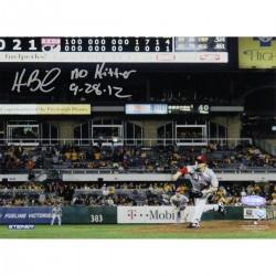 Steiner Sports - BAILPHS008008 - Homer Bailey Cincinnati Reds Pitching No-hitter Against Pirates Signed Horizontal 8x10 Photo w No Hitter 9-28-12 Insc