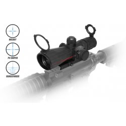 NcSTAR - SRTM432G - NcStar Mark III Tactical SRT Series 4x32 Rubber Compact with Red Laser Mil-Dot Scope
