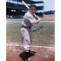 Steiner Sports - BERRPHS011029 - Larry Yogi Berra Batting Pose By Foul Line Signed 11x14 Vertical Photo
