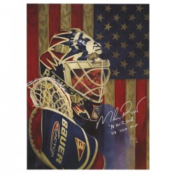 Steiner Sports - RICHPOS000003 - Mike Richter Signed USA 18x24 Litho Poster w 96 W.C Gold Champs USA HOFInsc.