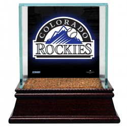 Steiner Sports - CASEBAUSI03CR - Colorado Rockies Glass Single Baseball Case with Team Logo Background and Authentic Field Dirt Base (MLB Auth)