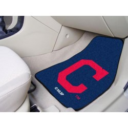 Fanmats - 16913 - Cleveland Indians Block-C 2-piece Carpeted Car Mats 17x27