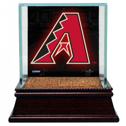 Steiner Sports - CASEBAUSI1ADB - Arizona Diamondbacks Glass Single Baseball Case with Team Logo Background and Authentic Field Dirt Base (MLB Auth)