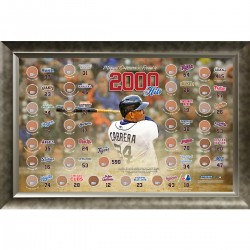 Steiner Sports - CABRPHA020000 - Miguel Cabrera 2000 Hits MLB Ballparks 20x32 Framed Collage w Game Used Dirt From 30 Parks