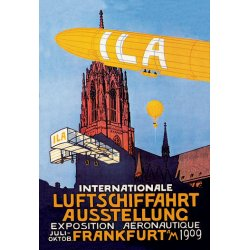 Buyenlarge - 01515-2P2030 - I.L.A. - Airship, Balloon and Plane Fly over a Cathedral in Frankfort wor an aeronautical exposition 20x30 pos