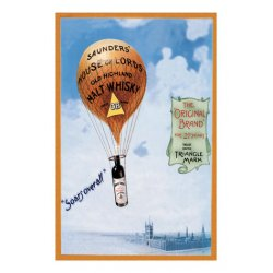 Buyenlarge - 01509-8P2030 - Saunders's House of Lords Whiskey - Ballon ascension with netting and carrying a Bottle of English whiskey