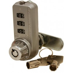 FJM Security - 7440S+KEY - Combi-Cam Ultra 5/8 inch 3-Dial Chrome