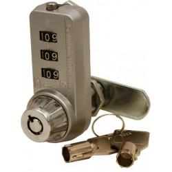 FJM Security - 7440L+KEY - Combi-Cam Ultra 1-1/8 inch 3-Dial Chrome