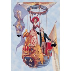 Buyenlarge - 01506-3P2030 - A Wave in the Air - French Ballon ascenion with noble personages waving to those unseen below from an ornate r