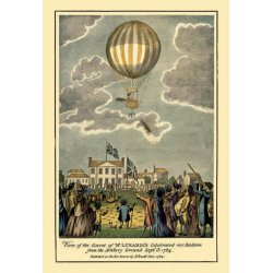 Buyenlarge - 01504-7P2030 - Ascent of Lunardi's Balloon - Graphic representaion of a Balloon's ascension 20x30 poster
