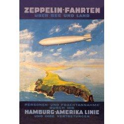 Buyenlarge - 01499-7P2030 - Zeppelin Fahrten Uber See und Land - Hamburg America Lines Flies over the ocean and isthmus 20x30 poster