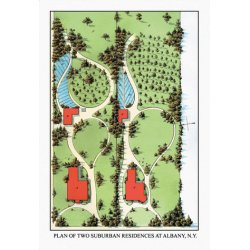Buyenlarge - 08726-9CG28 - Plan of Two Suburban Residences at Albany N.Y. 28x42 Giclee on Canvas