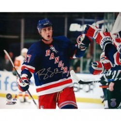 Steiner Sports - DUBIPHS016009 - Brandon Dubinsky Rangers Blue Jersey Celebration Horizontal 16x20 Photo
