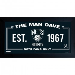 Steiner Sports - NETSPHA001000 - Brooklyn Nets Man Cave Sign 10x20 Framed Photo w Game used Net