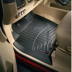 WeatherTech - 443171-44049-2-3 - 2005 - 2010 Honda Odyssey Black Complete Set (1st 2nd & 3rd Row) - Over The Hump FloorLiner