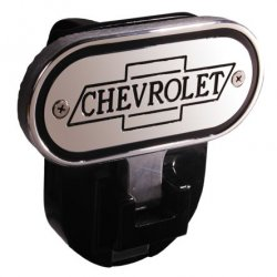 DefenderWorx - 10303 - Chevy - Inscribed Chevrolet - Black - 2 Inch Fold Down Step Hitch